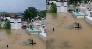 Chuvas alagam totalmente o maior cemitério de Barreiras