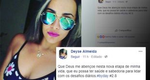 Luto em Itapetinga: Deyse Almeida postou mensagem no Facebook pouco antes de morrer