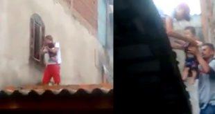Vídeo: Pai sobe em telhado e resgata filho de 7 meses trancado em creche municipal