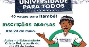 Itambé adere ao Programa Universidade para Todos e inscrições vão até dia 23 de maio